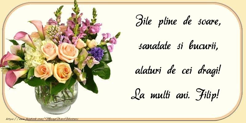 Felicitari de zi de nastere - Zile pline de soare, sanatate si bucurii, alaturi de cei dragi! Filip