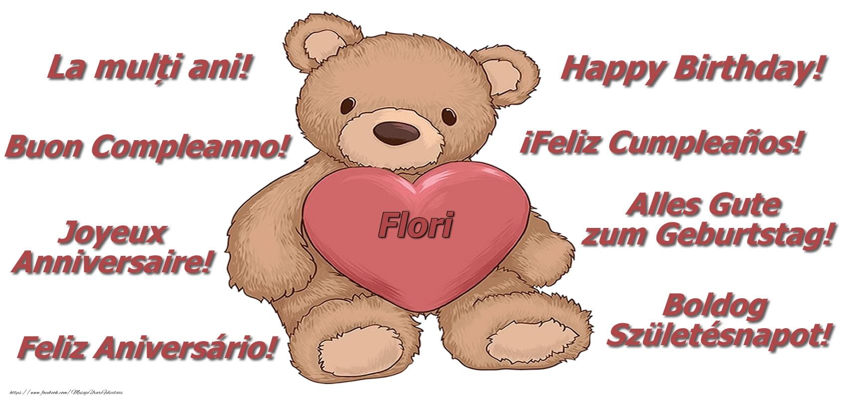 Felicitari de zi de nastere - La multi ani Flori! - Ursulet