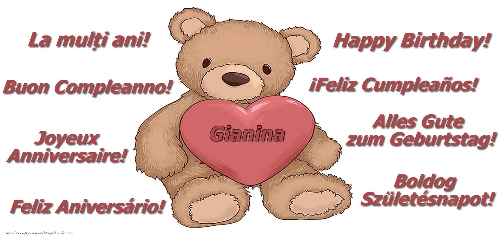 Felicitari de zi de nastere - La multi ani Gianina! - Ursulet