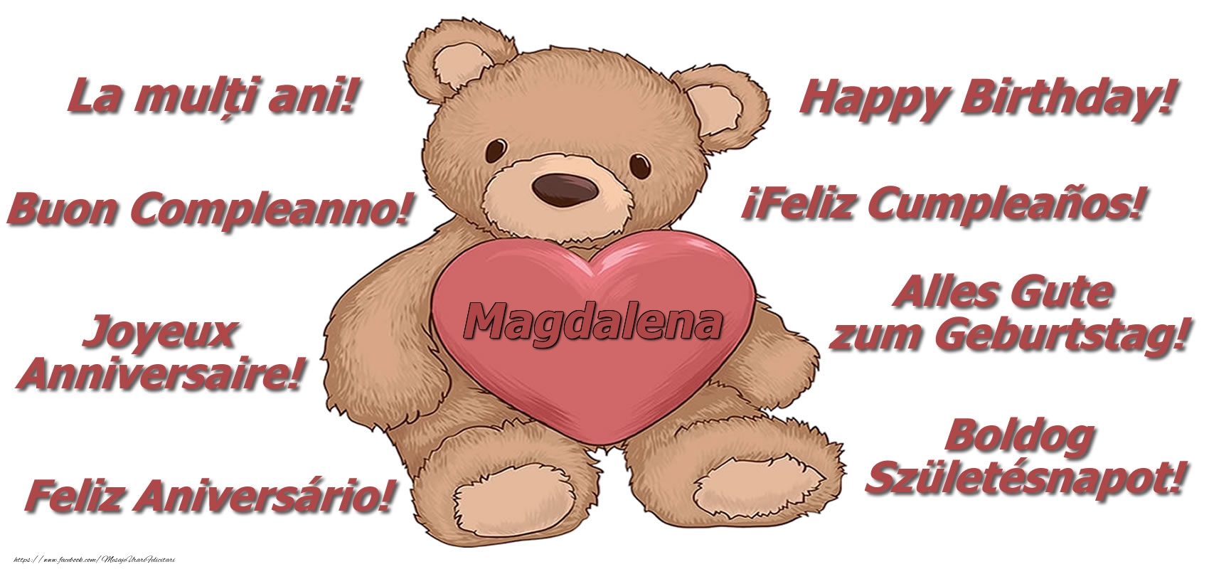 Felicitari de zi de nastere - La multi ani Magdalena! - Ursulet