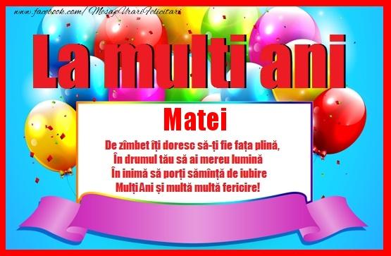 Felicitari de zi de nastere - La multi ani Matei