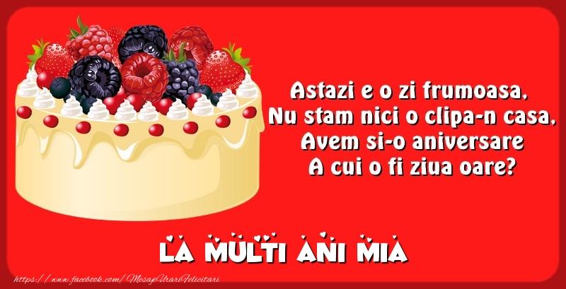 Felicitari de zi de nastere - La multi ani Mia