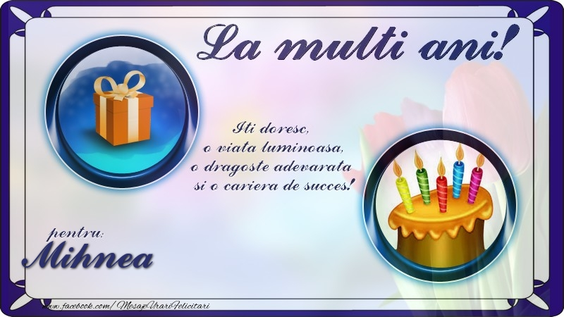 Felicitari de zi de nastere - La multi ani, pentru Mihnea! Iti doresc,  o viata luminoasa, o dragoste adevarata  si o cariera de succes!