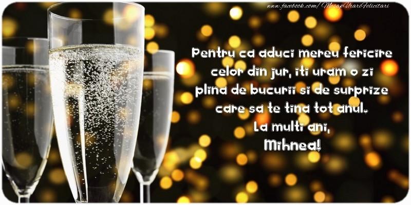Felicitari de zi de nastere - Pentru ca aduci mereu fericire celor din jur, iti uram o zi plina de bucurii si de surprize care sa te tina tot anul. La multi ani, Mihnea!