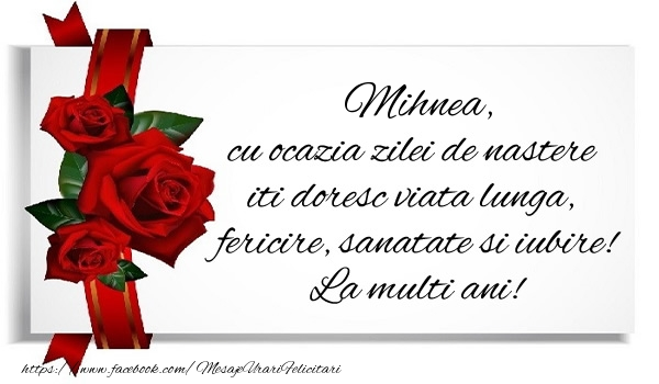 Felicitari de zi de nastere - Mihnea cu ocazia zilei de nastere iti doresc viata lunga, fericire, sanatate si iubire. La multi ani!