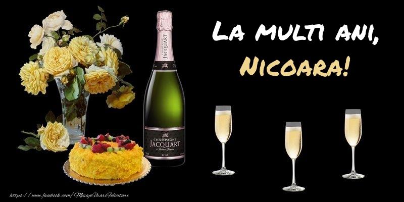Felicitari de zi de nastere - Felicitare cu sampanie, flori si tort: La multi ani, Nicoara!