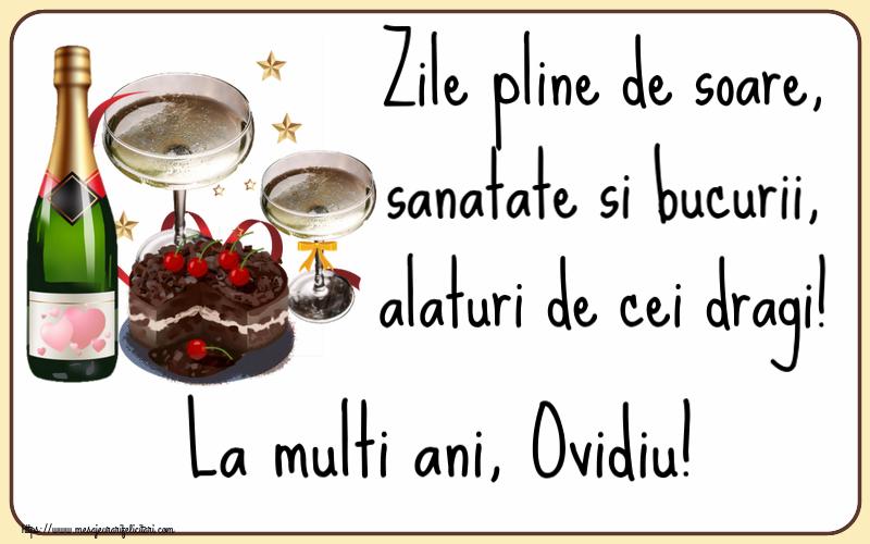 Felicitari de zi de nastere - Zile pline de soare, sanatate si bucurii, alaturi de cei dragi! La multi ani, Ovidiu!