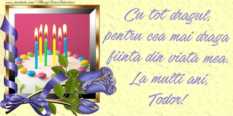 Felicitari de zi de nastere - Cu tot dragul, pentru cea mai draga fiinta din viata mea. La multi ani, Todor