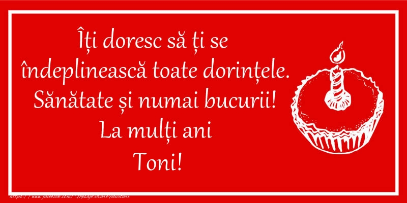 Felicitari de zi de nastere - Îți doresc să ți se  îndeplinească toate dorințele. Sănătate și numai bucurii! La mulți ani Toni!