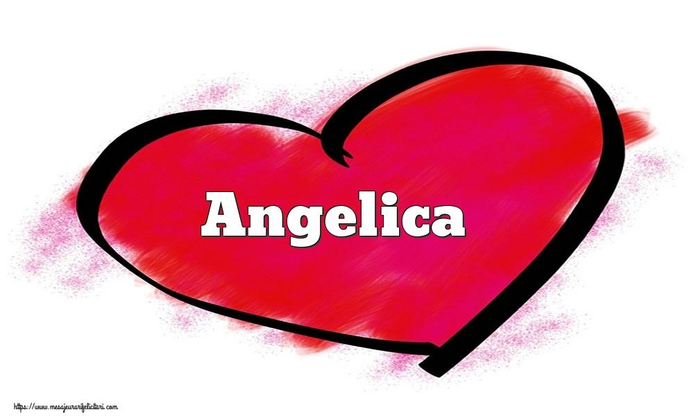 Felicitari Ziua indragostitilor - Inima cu numele Angelica