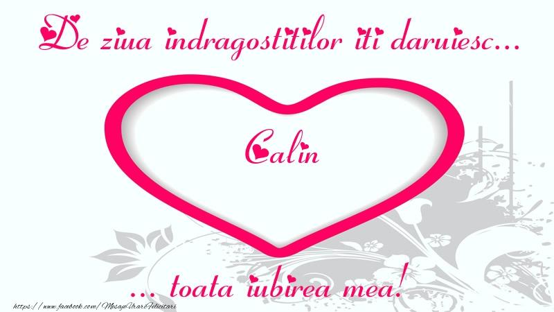 Felicitari Ziua indragostitilor - Pentru Calin: De ziua indragostitilor iti daruiesc toata iubirea mea!