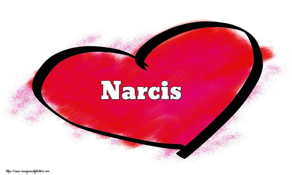 Felicitari Ziua indragostitilor - Inima cu numele Narcis