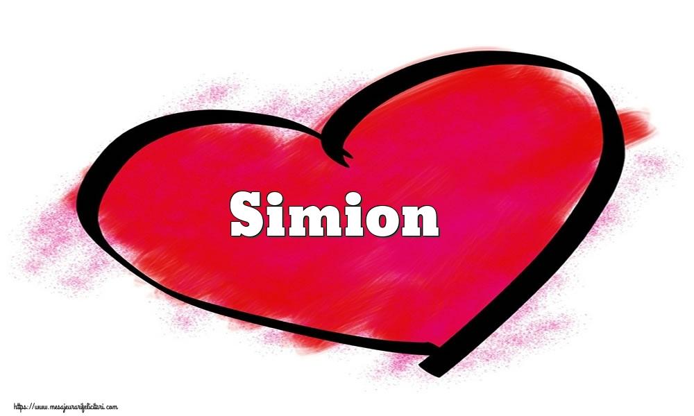 Felicitari Ziua indragostitilor - Inima cu numele Simion