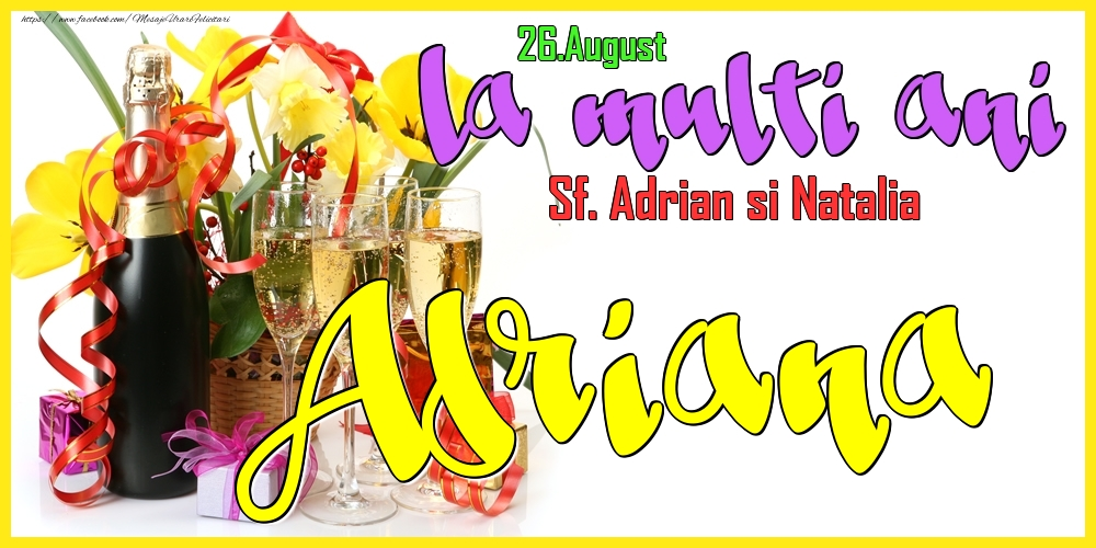 Felicitari de Ziua Numelui - 26.August - La mulți ani Adriana! - Sf. Adrian si Natalia