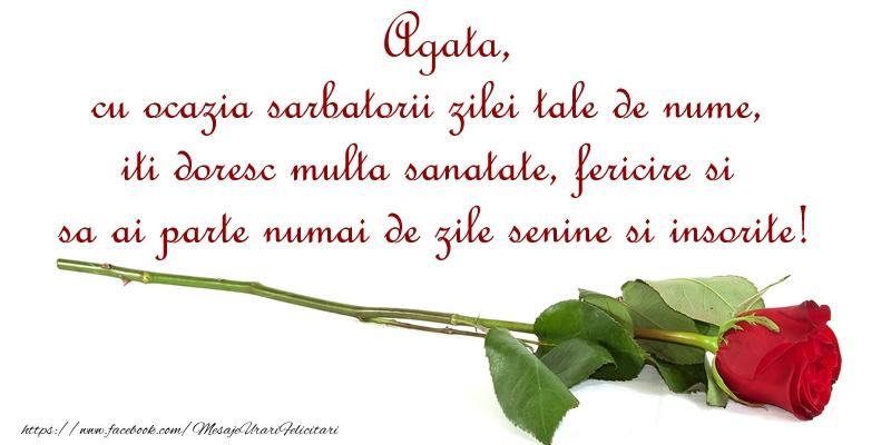 Felicitari de Ziua Numelui - Agata, cu ocazia sarbatorii zilei tale de nume, iti doresc multa sanatate, fericire si sa ai parte numai de zile senine si insorite!
