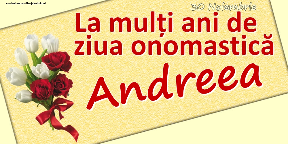 Felicitari de Ziua Numelui - 30 Noiembrie: La mulți ani de ziua onomastică Andreea