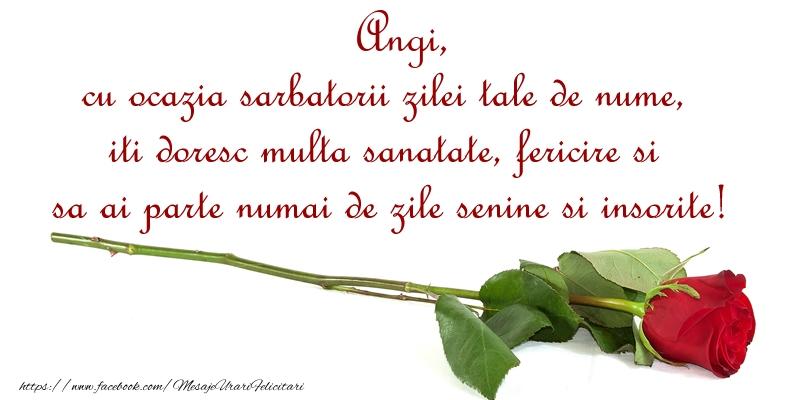 Felicitari de Ziua Numelui - Angi, cu ocazia sarbatorii zilei tale de nume, iti doresc multa sanatate, fericire si sa ai parte numai de zile senine si insorite!