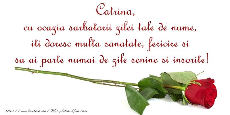 Felicitari de Ziua Numelui - Catrina, cu ocazia sarbatorii zilei tale de nume, iti doresc multa sanatate, fericire si sa ai parte numai de zile senine si insorite!