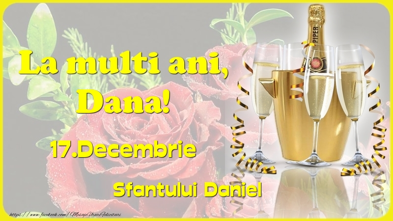 Felicitari de Ziua Numelui - La multi ani, Dana! 17.Decembrie - Sfantului Daniel