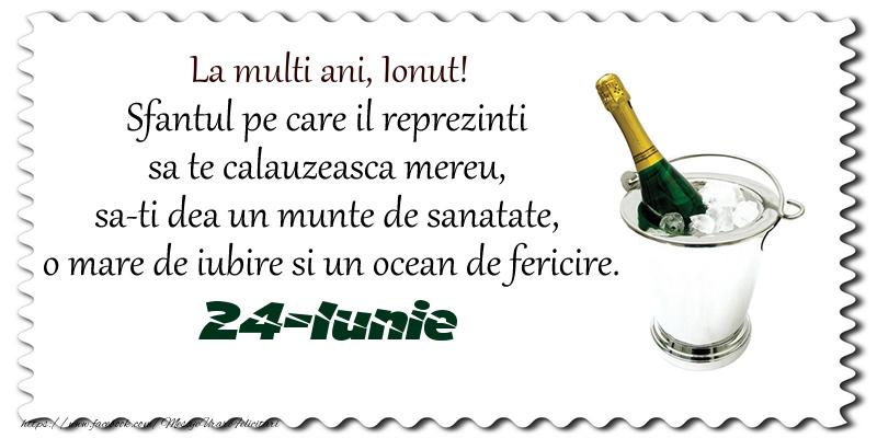 Felicitari de Ziua Numelui - La multi ani, Ionut! Sfantul pe care il reprezinti  sa te calauzeasca mereu,  sa-ti dea un munte de sanatate,  o mare de iubire si un ocean de fericire. 24-Iunie -