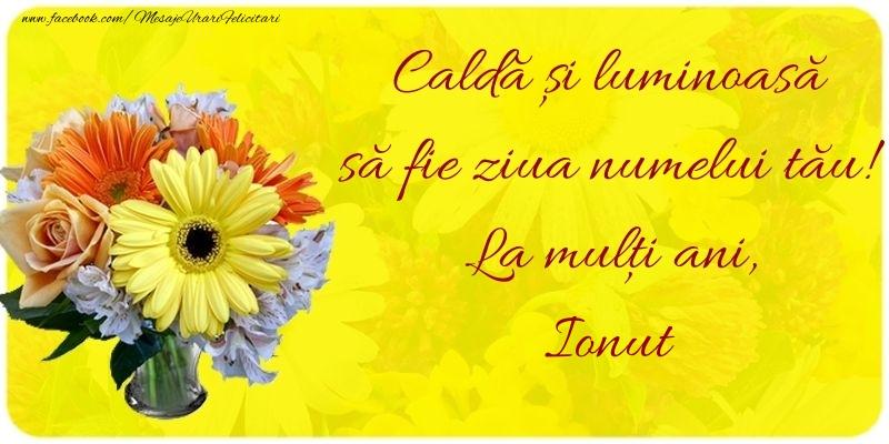 Felicitari de Ziua Numelui - Caldă și luminoasă să fie ziua numelui tău! La mulți ani, Ionut