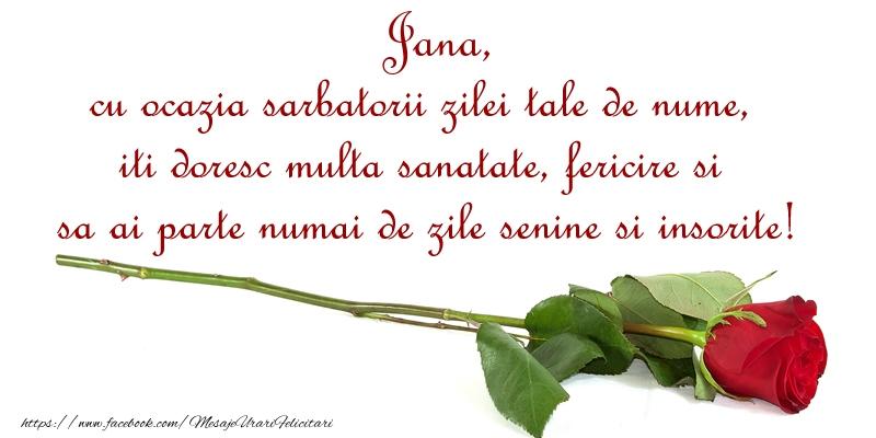Felicitari de Ziua Numelui - Jana, cu ocazia sarbatorii zilei tale de nume, iti doresc multa sanatate, fericire si sa ai parte numai de zile senine si insorite!