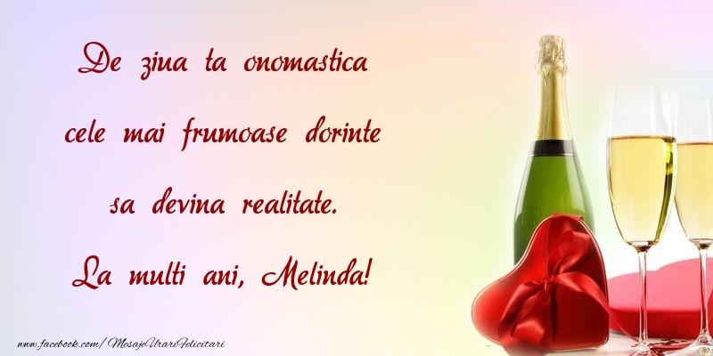 Felicitari de Ziua Numelui - De ziua ta onomastica cele mai frumoase dorinte sa devina realitate. Melinda