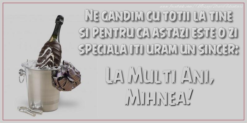 Felicitari de Ziua Numelui - Ne gandim cu totii la tine si pentru ca astazi este o zi speciala iti uram un sincer: La multi ani, Mihnea