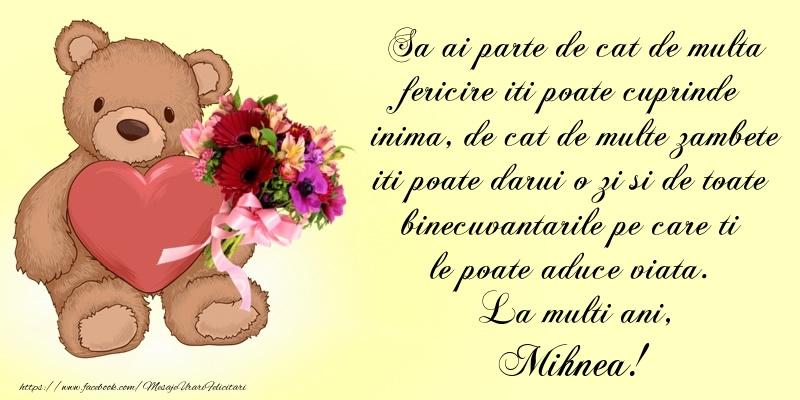 Felicitari de Ziua Numelui - Sa ai parte de cat de multa fericire iti poate cuprinde inima, de cat de multe zambete iti poate darui o zi si de toate binecuvantarile pe care ti le poate aduce viata. La multi ani, Mihnea!