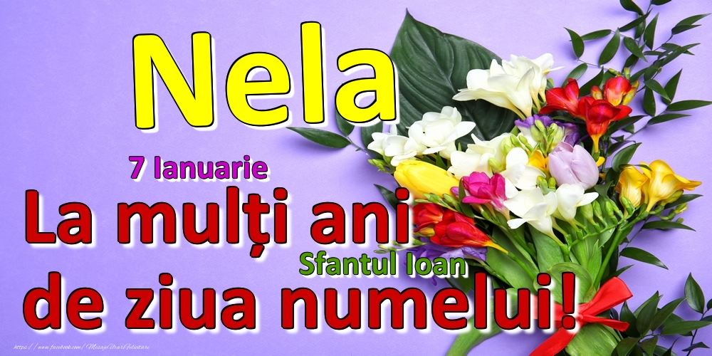 Felicitari de Ziua Numelui - 7 Ianuarie - Sfantul Ioan -  La mulți ani de ziua numelui Nela!