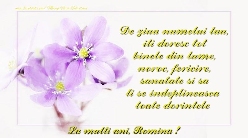 Felicitari de Ziua Numelui - La multi ani Romina, de ziua numelui
