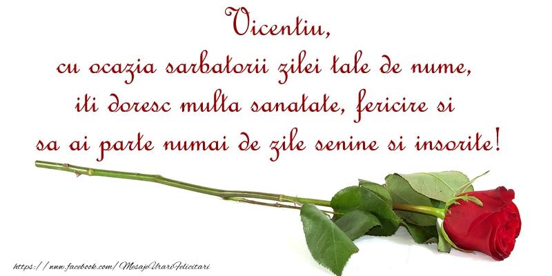 Felicitari de Ziua Numelui - Vicentiu, cu ocazia sarbatorii zilei tale de nume, iti doresc multa sanatate, fericire si sa ai parte numai de zile senine si insorite!