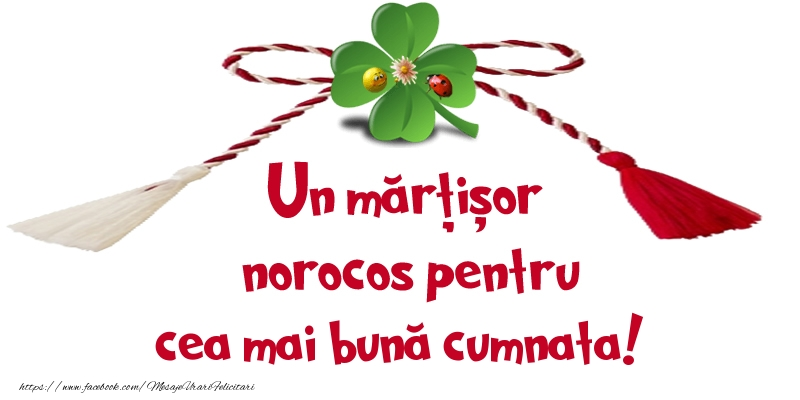 Felicitari de 1 Martie pentru Cumnata - Un mărțișor norocos pentru cea mai bună cumnata!