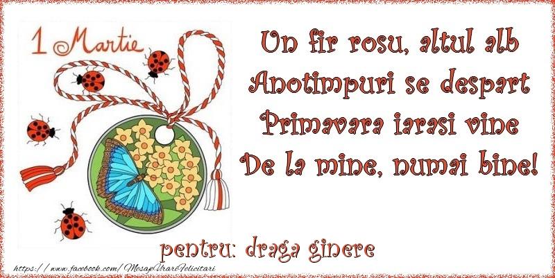 Felicitari de 1 Martie pentru Ginere - Un fir rosu, altul alb ... Pentru draga ginere!