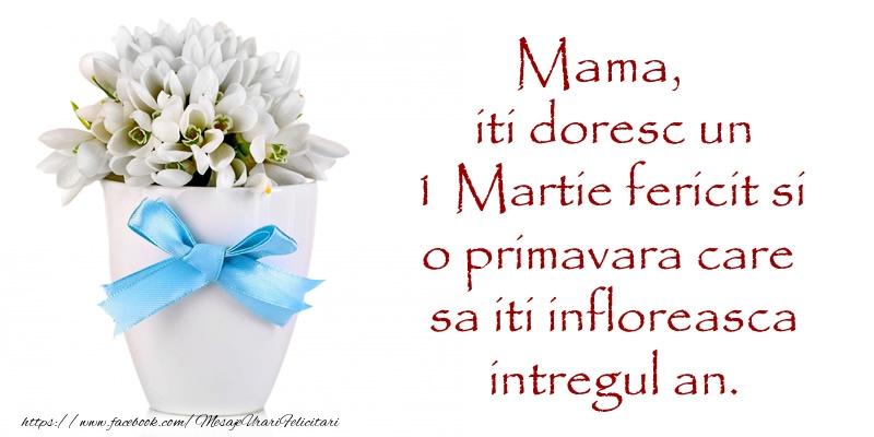 Felicitari de 1 Martie pentru Mama - Mama iti doresc un 1 Martie fericit si o primavara care sa iti infloreasca intregul an.