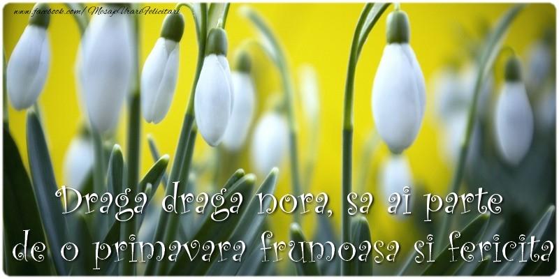 Felicitari de 1 Martie pentru Nora - Draga draga nora, sa ai parte de o primavara frumoasa si fericita