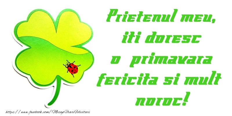 Felicitari de 1 Martie pentru Prieten - Prietenul meu iti doresc o primavara fericita si mult noroc!