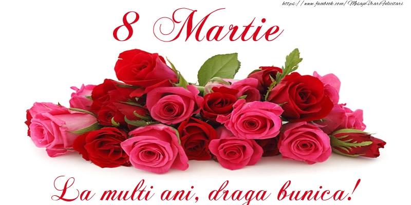 Felicitari de 8 Martie pentru Bunica - Felicitare cu trandafiri de 8 Martie La multi ani, draga bunica!