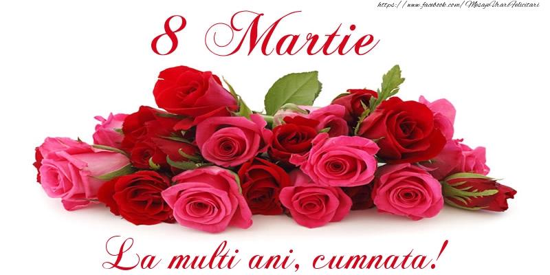 Felicitari de 8 Martie pentru Cumnata - Felicitare cu trandafiri de 8 Martie La multi ani, cumnata!