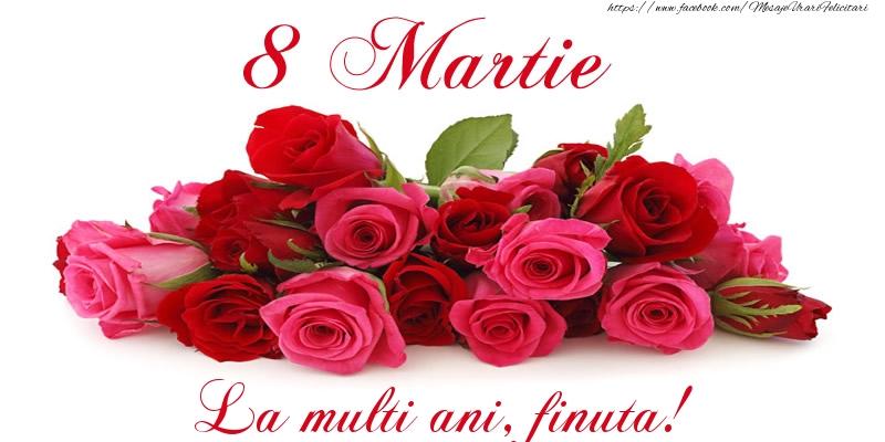 Felicitari de 8 Martie pentru Fina - Felicitare cu trandafiri de 8 Martie La multi ani, finuta!