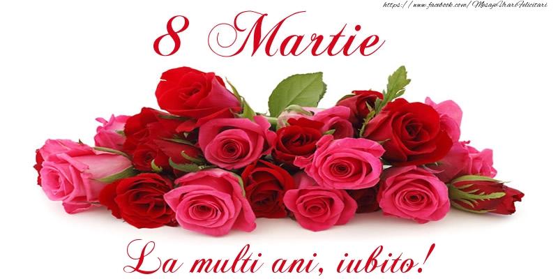 Felicitari de 8 Martie pentru Iubita - Felicitare cu trandafiri de 8 Martie La multi ani, iubito!