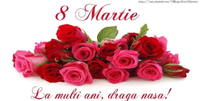 Felicitari de 8 Martie pentru Nasa - Felicitare cu trandafiri de 8 Martie La multi ani, draga nasa!