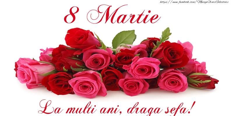 Felicitari de 8 Martie pentru Sefa - Felicitare cu trandafiri de 8 Martie La multi ani, draga sefa!