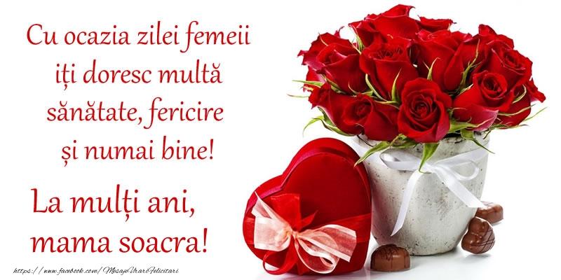 Felicitari de 8 Martie pentru Soacra - Cu ocazia zilei femeii iți doresc multă sănătate, fericire și numai bine! La mulți ani, mama soacra!