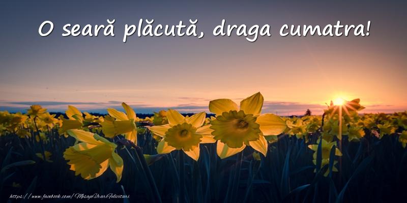Felicitari de buna seara pentru Cumatra - Flori: O seară plăcută, draga cumatra!