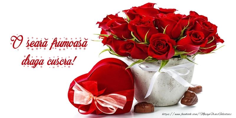 Felicitari de buna seara pentru Cuscra - Felicitare cu flori: O seară frumoasă draga cuscra!