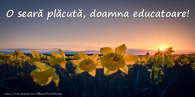 Felicitari de buna seara pentru Educatoare - Flori: O seară plăcută, doamna educatoare!