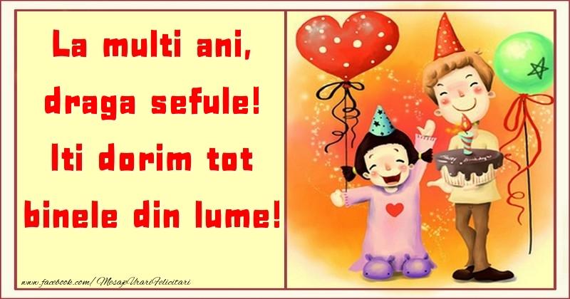 Felicitari pentru copii pentru Sef - La multi ani, Iti dorim tot binele din lume! draga sefule