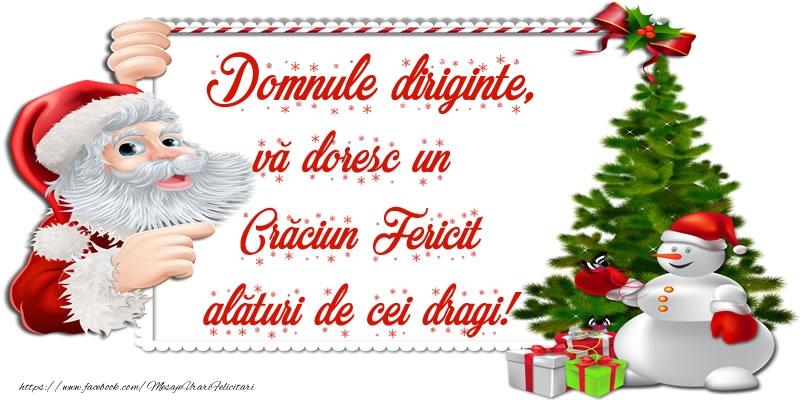 Felicitari de Craciun pentru Diriginte - Domnule diriginte, vă doresc un Crăciun Fericit alături de cei dragi!