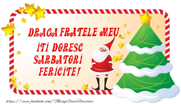 Felicitari de Craciun pentru Frate - Draga fratele meu, Iti Doresc Sarbatori  Fericite!